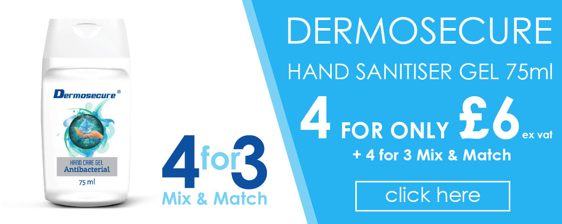 Dermosecure Hand Sanitiser Gel 75ml 4 for £6 ex vat