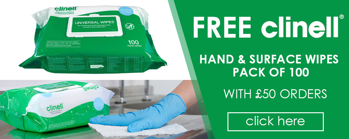 Free Clinell Hand & Surface Wipes with £50 Orders