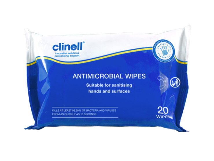 Clinell Antimicrobial Hand and Surface Wipes